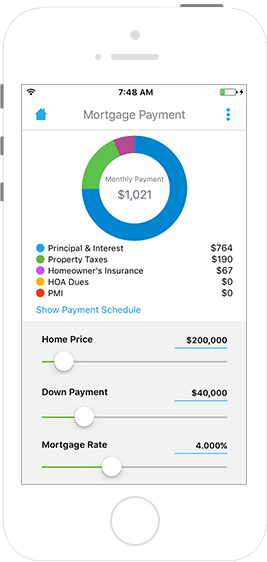 Mortgage Payment Calculator Screen