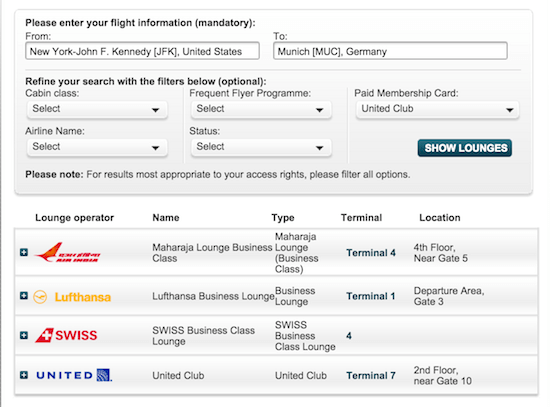 Star Alliance Lounges Fnder Tool